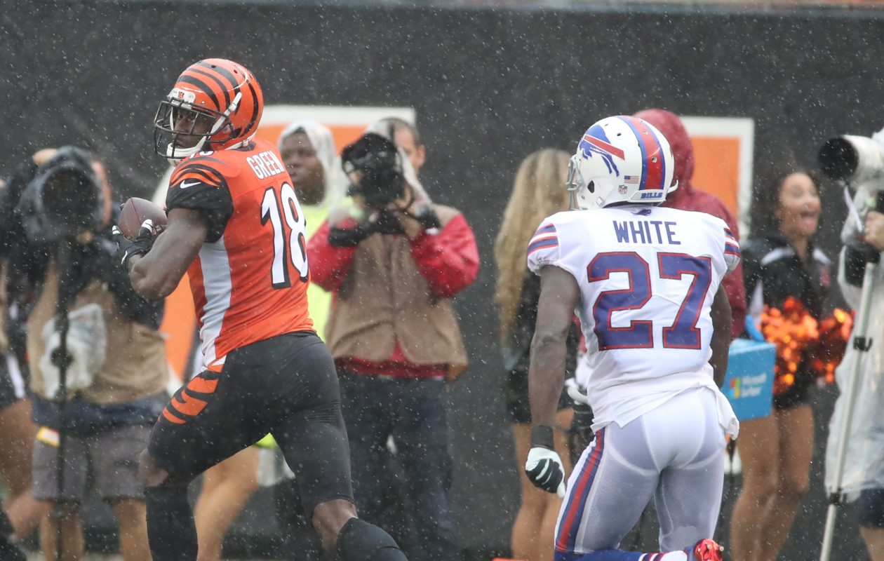 Bengals wide receiver A.J. Green (18) beats Bills cornerback Tre'Davious White (27) for a touchdown in the first quarter. (James P. McCoy / Buffalo News)