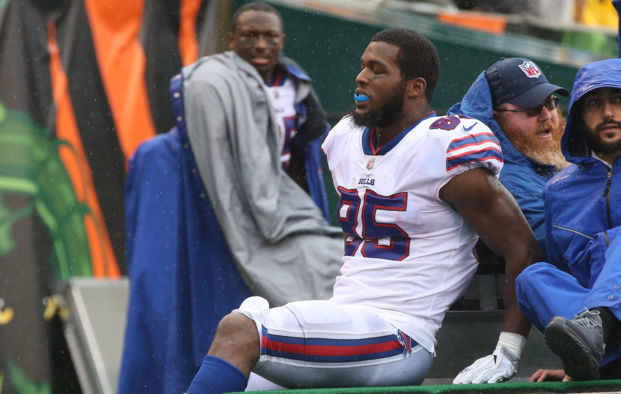 Buffalo Bills tight end Charles Clay (85) is carted off in the second quarter at Paul Brown Stadium in Cincinnati in Ohio on Sunday, Oct. 8, 2017.  (James P. McCoy/Buffalo News)