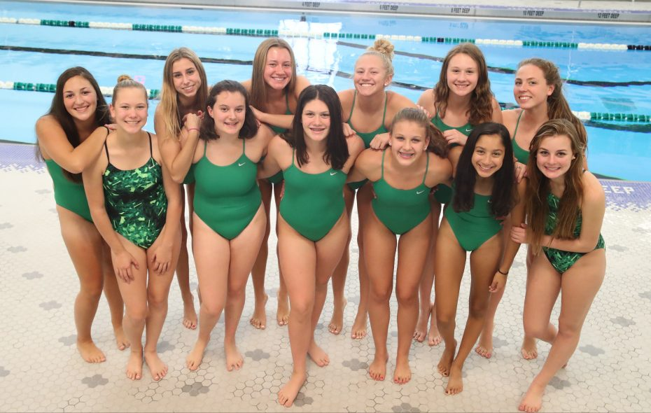 The Lewiston-Porter girls swimming team (all 12 of them: 10 swimmers and two divers) is gearing toward a Niagara Frontier League championship. (James P. McCoy/Buffalo News)