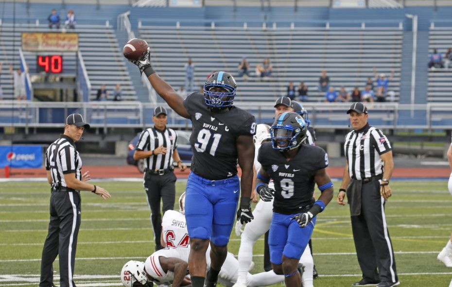 UB's Demone Harris (91) comes up with the fumble in the 2nd quarter of UB's 14-13 loss to Northern Illinois. (Robert Kirkham/News file photo)