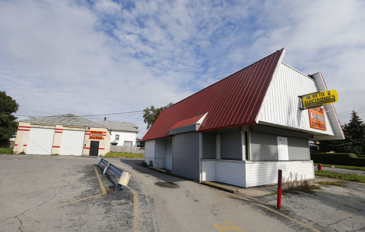 A proposal to put a slaughterhouse in the back building, left, at 822 Walden Ave. has met opposition. (Mark Mulville/Buffalo News)