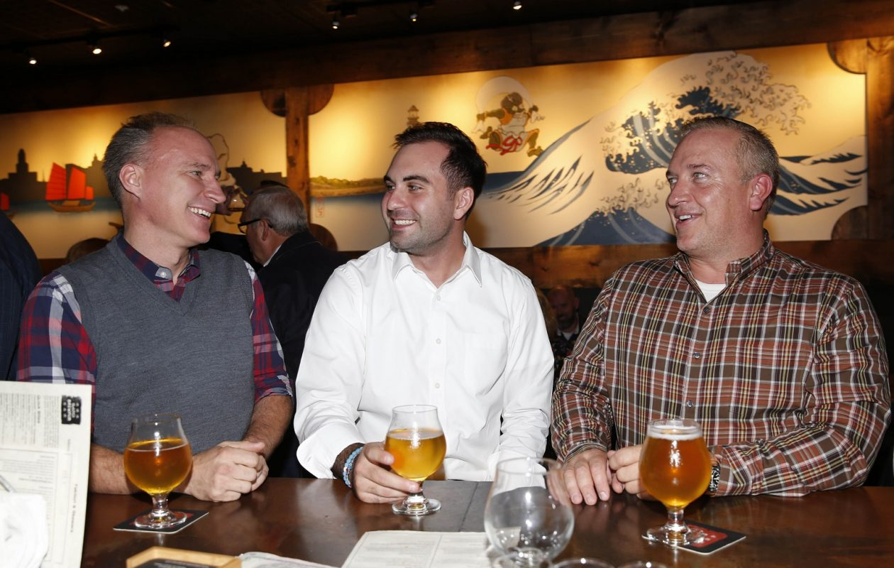 From left, in Sato Brewpub, are Mark Gamble of the City of Tonawanda, Paul Stanek of Buffalo and Mike Kaizer of Hamburg. (Sharon Cantillon/Buffalo News)