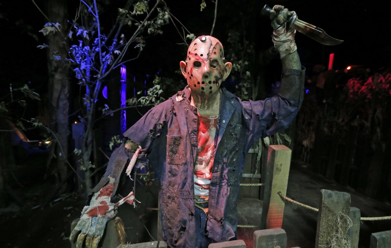 Frightworld's newest attraction 'Camp Blue Falls Massacre' features a host of scary creatures, some living, some animated like this guy, but who can tell when the lights go down?  (Robert Kirkham/Buffalo News)