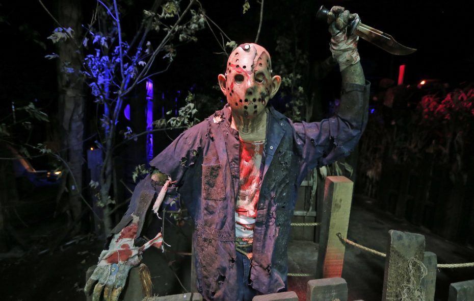 """Frightworld's newest attraction """"Camp Blue Falls Massacre"""" features a host of scary creatures, some living, some animated like this guy, but who can tell when the lights go down?  (Robert Kirkham/Buffalo News)"""