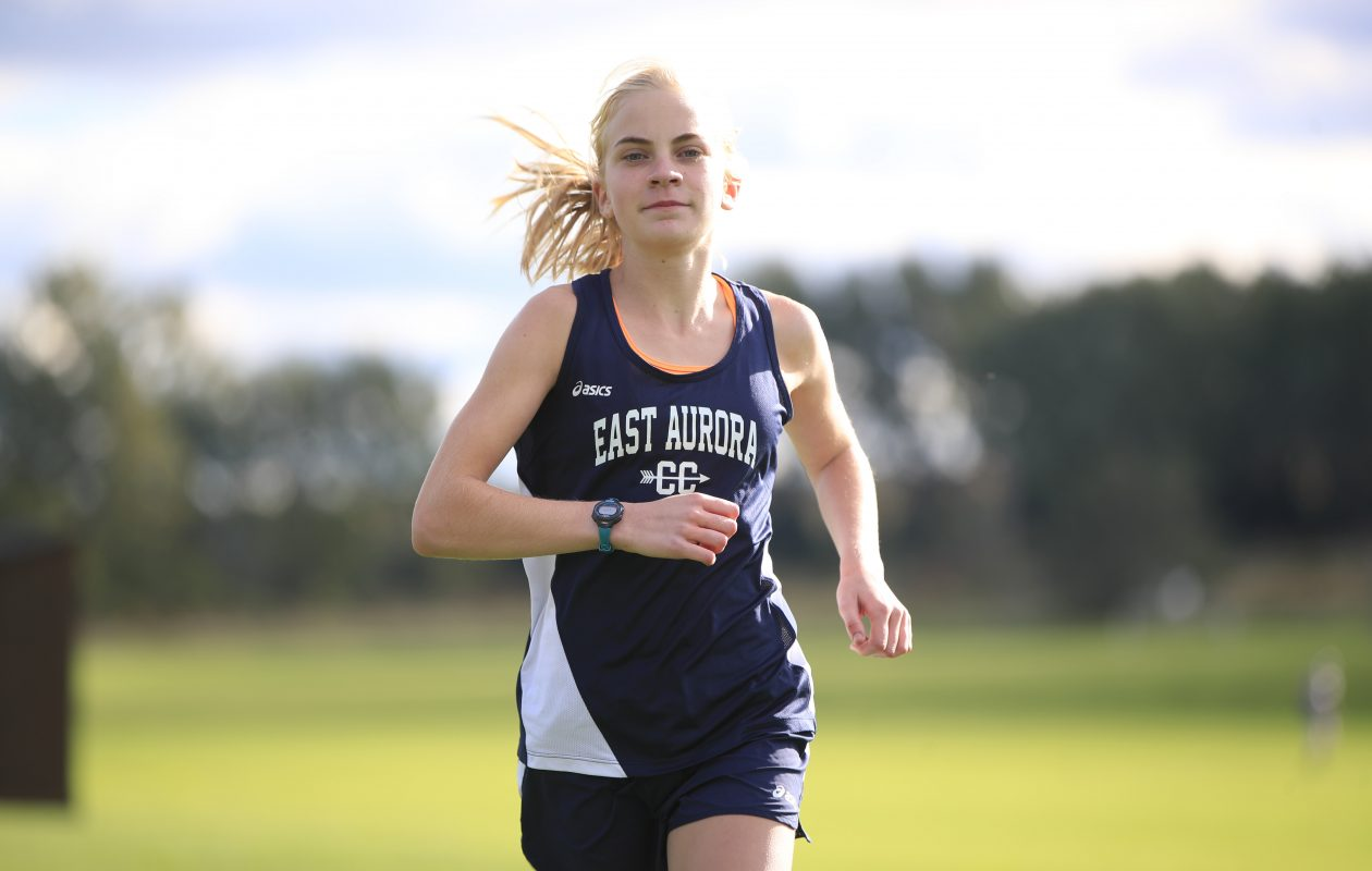 Megan McLaughlin is one of the many talents who has shined this season for East Aurora's girls cross country team. (Harry Scull Jr./ Buffalo News)