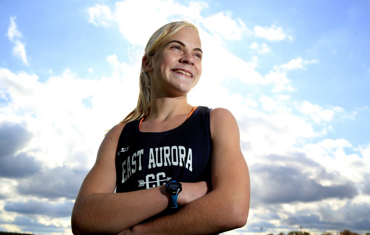Megan McLaughlin an 8th grader on the East Aurora cross country team, is the Prep Talk Female Athlete of the Week. (Harry Scull Jr./ Buffalo News)
