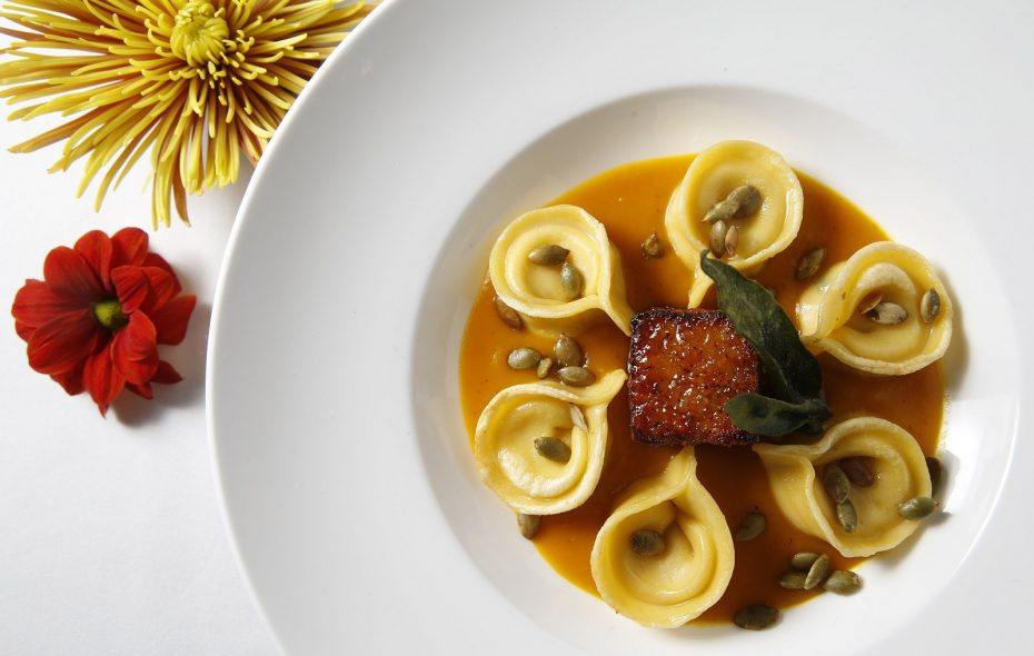 Tempo serves tortellini and pork belly, which comes with house ricotta filling, buttercup squash puree, maple and bourbon glazed pork belly, sage and pepitas. (Sharon Cantillon/Buffalo News)