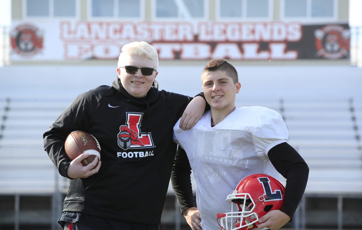 Lancaster football twin brothers Jeremy, left, and Jacob Calo have both left their impression on Lancaster football this season. (Harry Scull Jr./ Buffalo News)