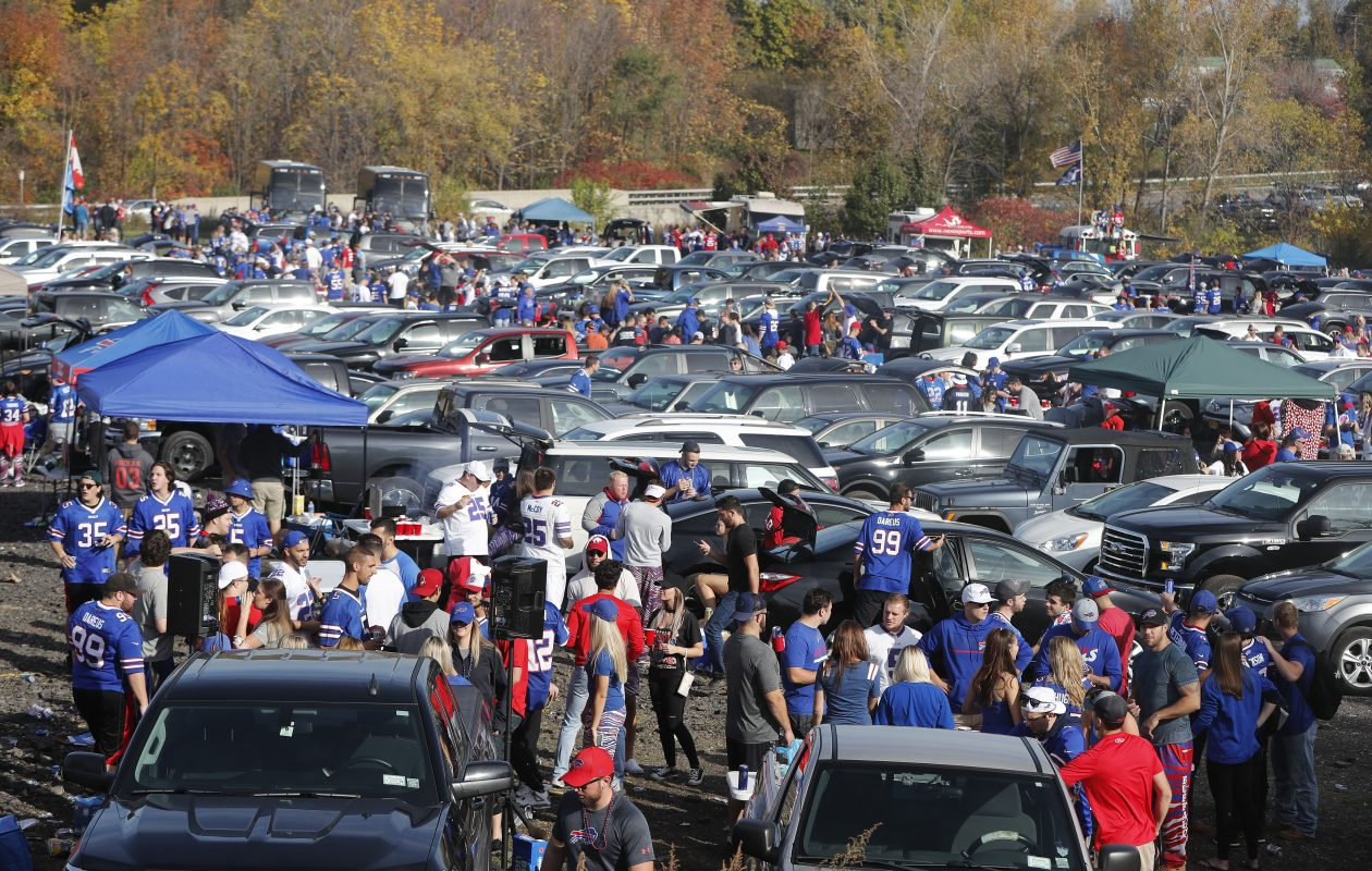 Bills fans tailgate in the parking lot before the game with the Tampa Bay Buccaneers at New Era Field in Orchard Park on Sunday, Oct. 22, 2017. (Mark Mulville/Buffalo News)