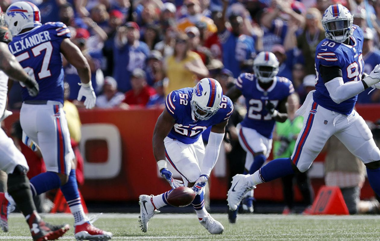 """""""It's great,' Preston Brown said of Bills fans in New Era Field. 'They're always loud and crazy on defense. We love them on third downs.' (Mark Mulville/News file photo)"""