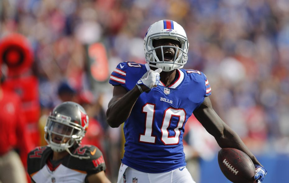 New Bills wide receiver Deonte Thompson celebrates after making a catch against the Buccaneers' Brent Grimes in the second quarter. (Mark Mulville/Buffalo News)