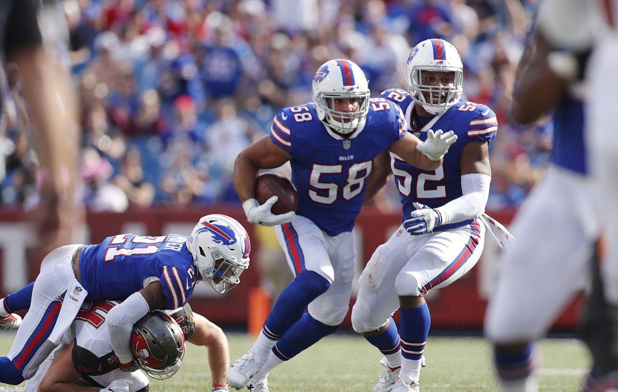 The Bills' Matt Milano looks for running room after intercepting a pass in the second quarter at New Era Field in Orchard Park Sunday, Oct. 22, 2017. (Mark Mulville/Buffalo News)