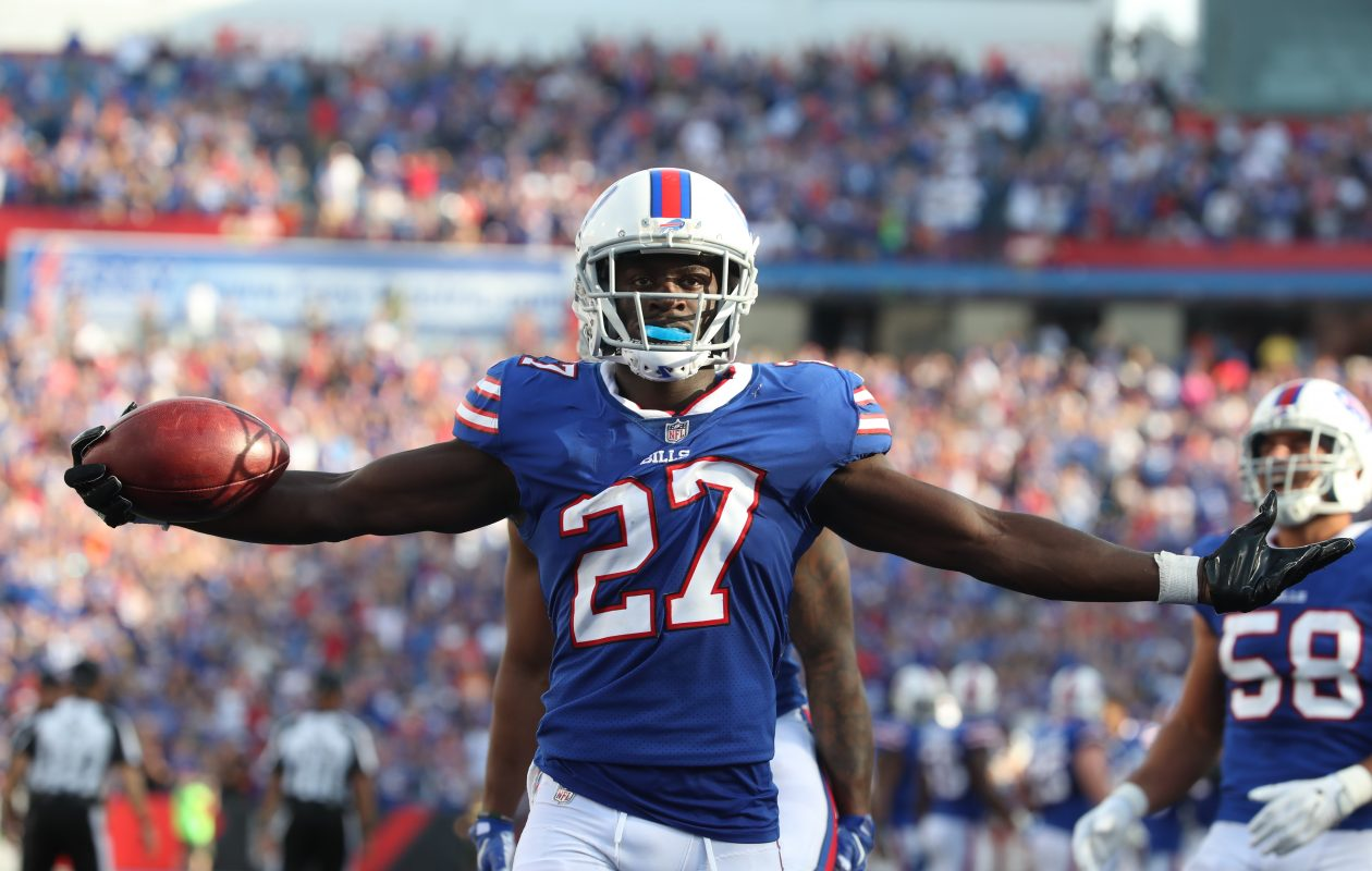 Tre'Davious White celebrates after forcing and recovering a fumble in the fourth quarter of the Bills' win Sunday. (James P. McCoy/Buffalo News)