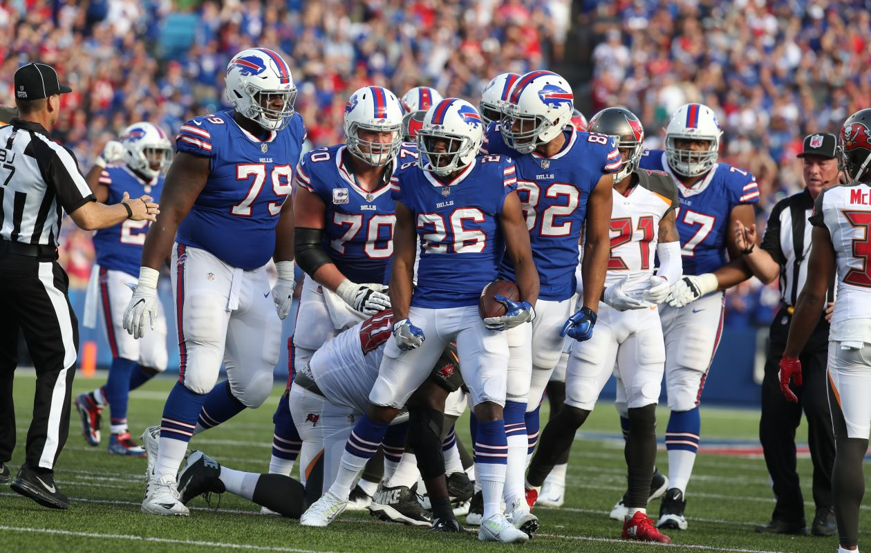 Taiwan Jones (26) celebrates after picking up a clutch first down in the fourth quarter Sunday for the Bills against the Tampa Bay Buccaneers. (James P. McCoy/Buffalo News)