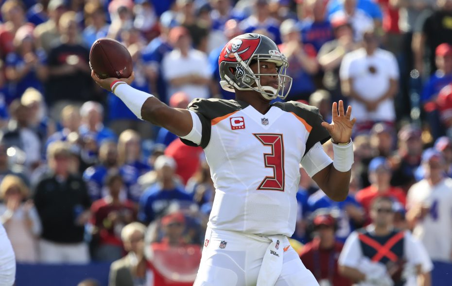 Tampa Bay Buccaneers quarterback Jameis Winston throws against the Buffalo Bills during the first quarter of an NFL football game at New Era Field on Sunday, Oct. 22, 2017. (Harry Scull Jr./ Buffalo News)