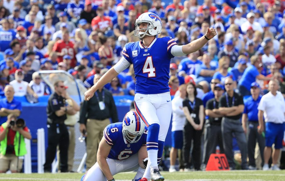 Especially when the Bills were kicking into the closed end of the stadium, it was hard to tell if field goals went through the uprights or not. (Harry Scull Jr./Buffalo News)