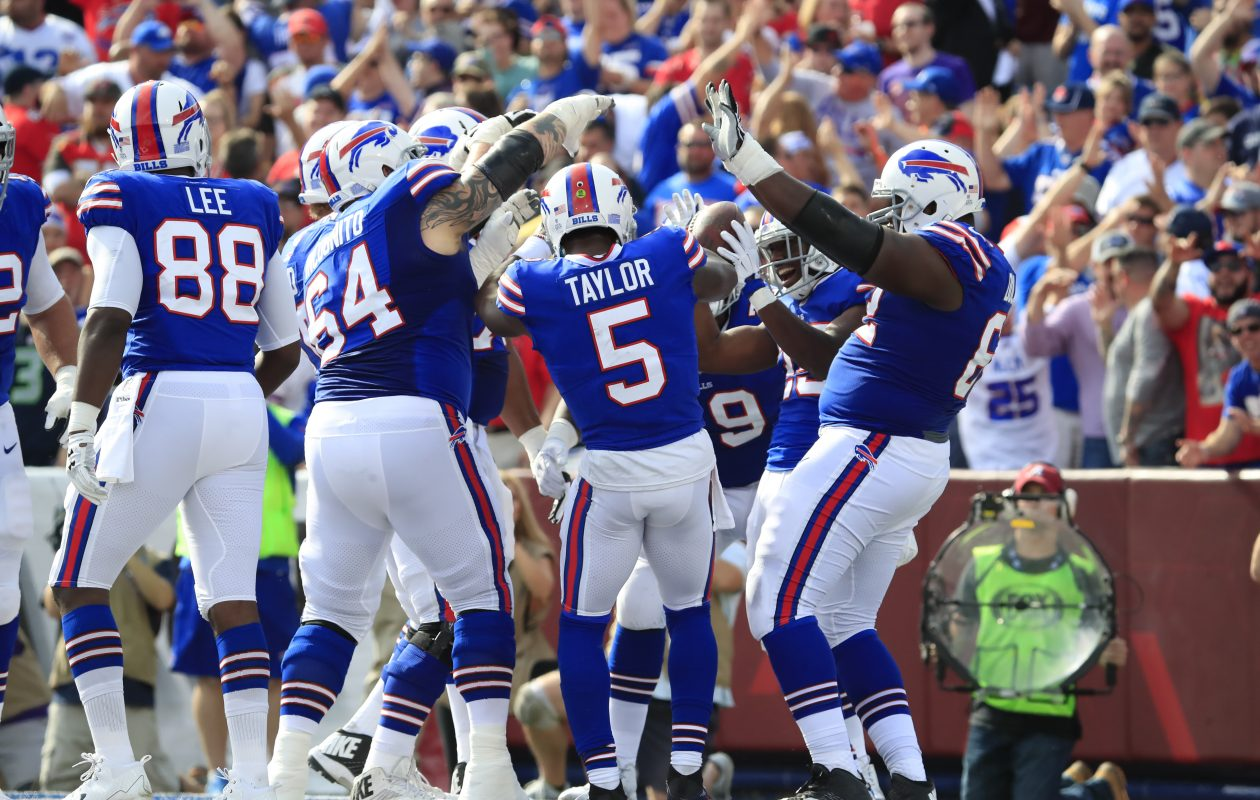 Buffalo Bills players celebrate a LeSean McCoy touchdown against the Tampa Bay Buccaneers during the second quarter of an NFL football game at New Era Field on Sunday, Oct. 22, 2017. (Harry Scull Jr./ Buffalo News)
