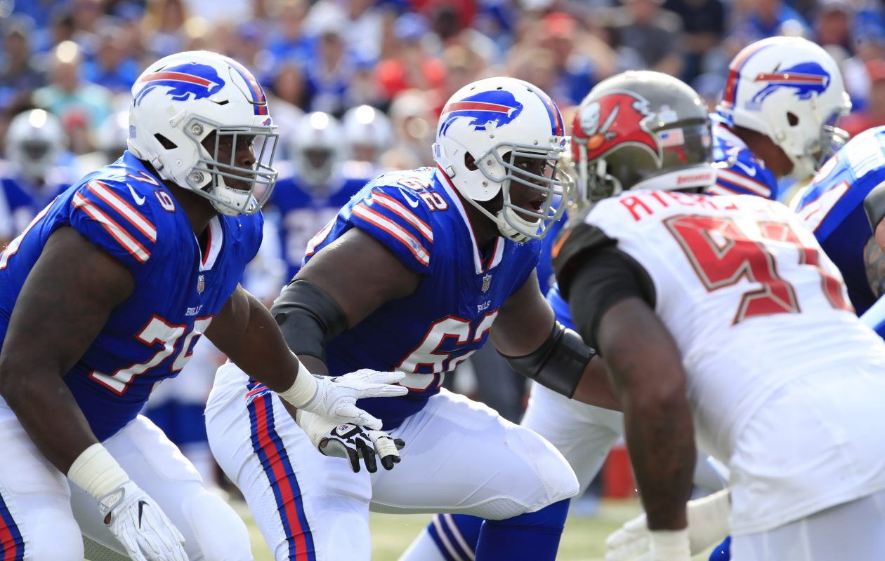 Buffalo Bills offensive lineman Vladimir Ducasse blocks against the Tampa Bay Buccaneers during the second quarter. (Harry Scull Jr./Buffalo News)