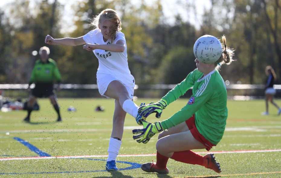 Williamsville North's Melanie Krysiak scores during the second half for the Spartans in the Class AA quarterfinals. North won, 2-0, over Lancaster to advance to next Tuesday's semifinals. (Harry Scull Jr./ Buffalo News)