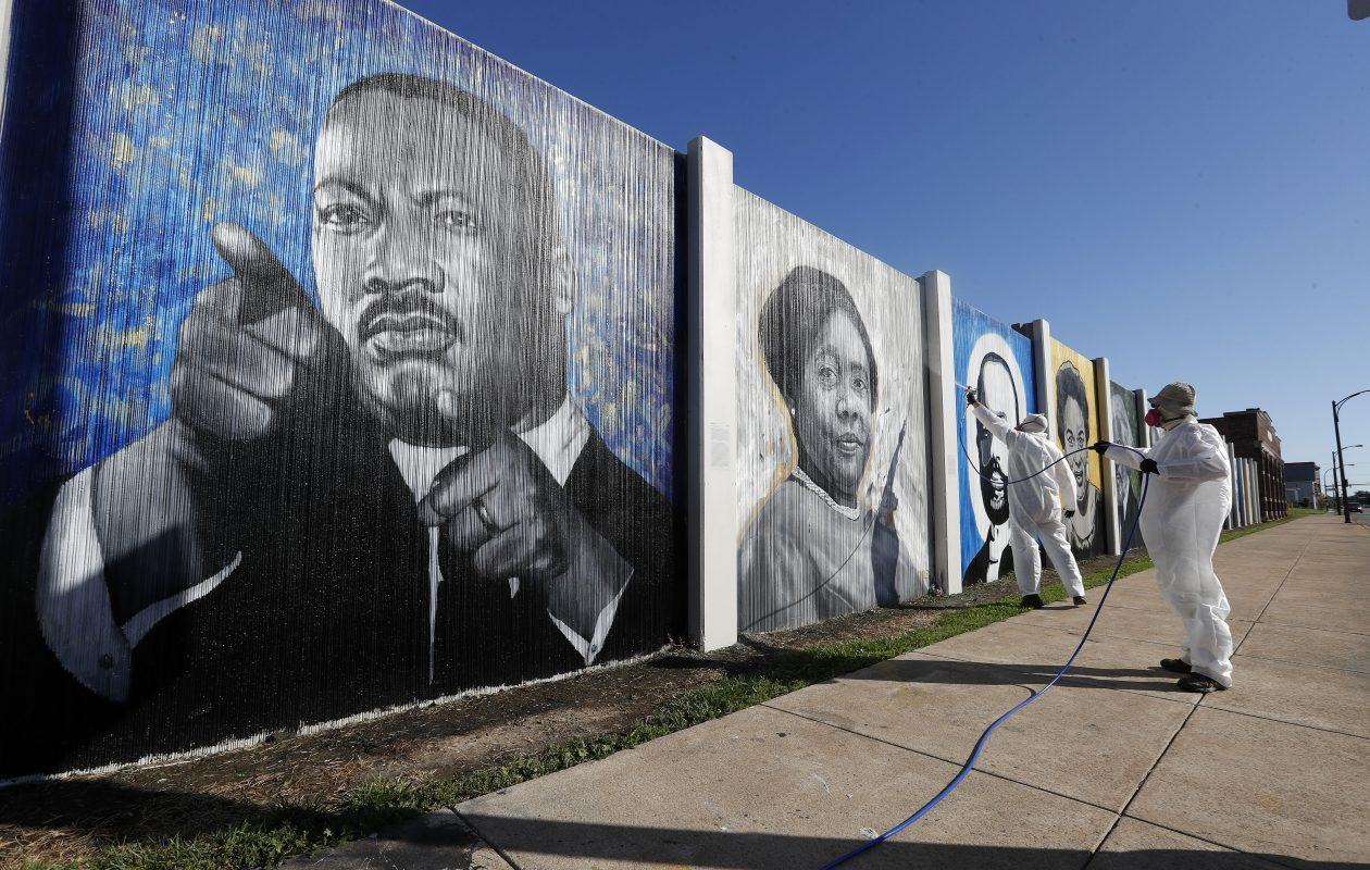 The Freedom Wall is a public art project on East Ferry Street and Michigan Avenue. (Mark Mulville/Buffalo News)