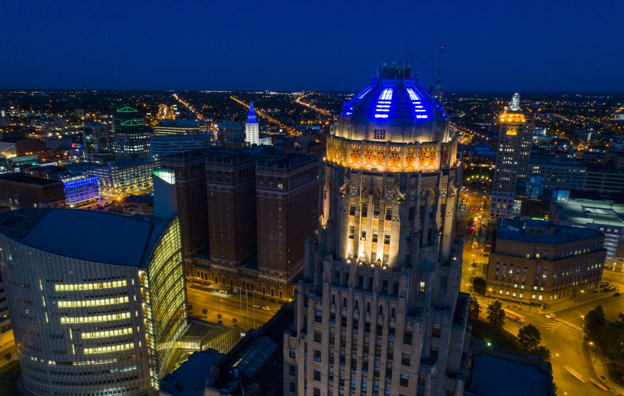 The dome of City Hall is lit blue to honor fallen Buffalo Police Officer Craig Lehner, Friday, Oct. 20, 2017.  (Derek Gee/Buffalo News)