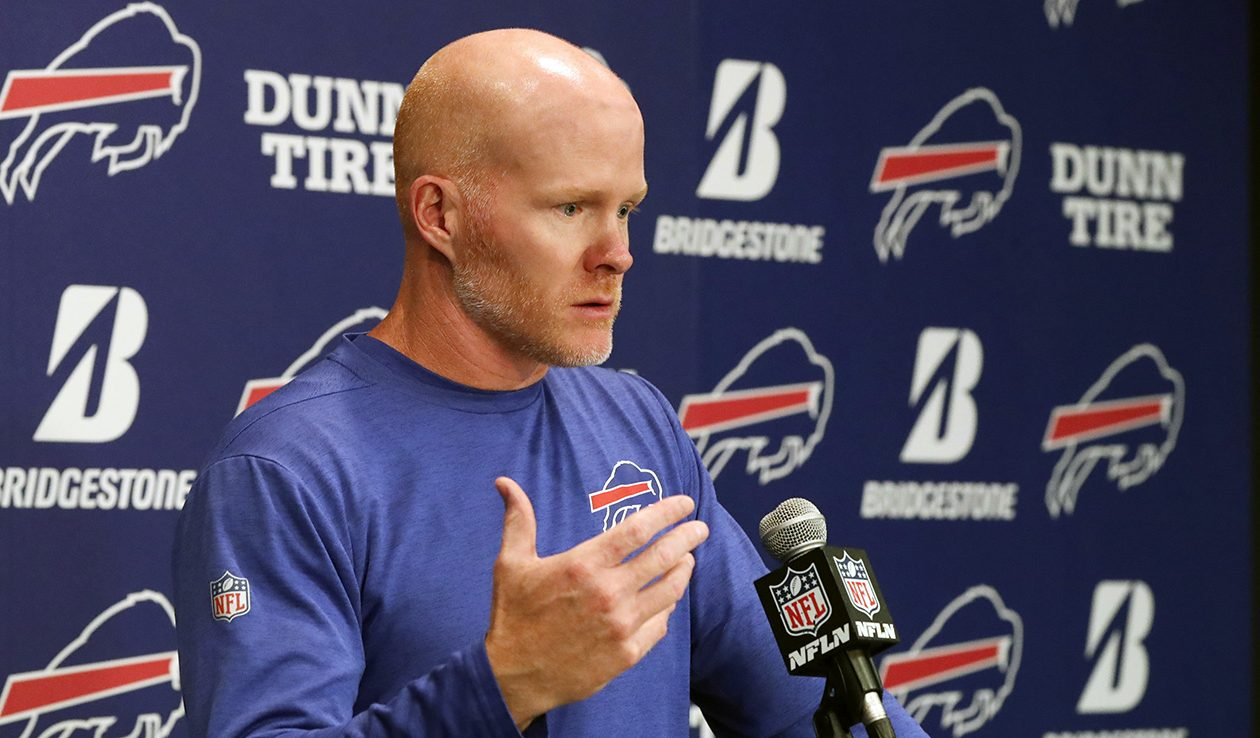 Bills head coach Sean McDermott talks to the media during his Monday press conference in Orchard Park on Oct. 23. (James P. McCoy/News file photo)