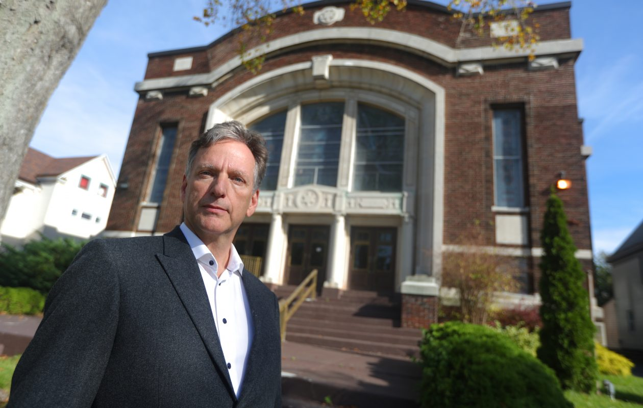 Ward Thomas, CEO of Sentient Science, plans to renovate a former house of worship on Richmond Avenue for his family's personal home. The building once housed Temple Beth El and later Greater Emmanuel Temple Church. (John Hickey/Buffalo News)