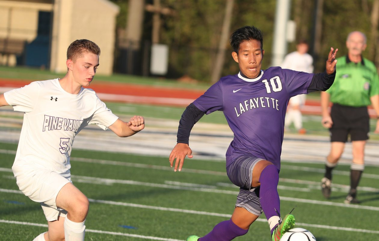 Lafayette's Mee Reh scored four times in his team's Class D win over Pine Valley.  (James P. McCoy/Buffalo News)