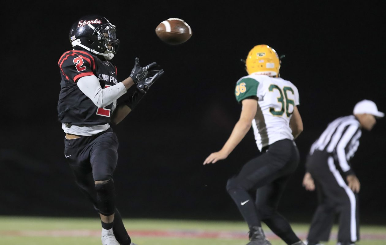 South Park's Clarence Thomas catches a touchdown pass against West Seneca East during the Sparks' 28-point second half at All High Stadium on Friday. (Harry Scull Jr./ Buffalo News)