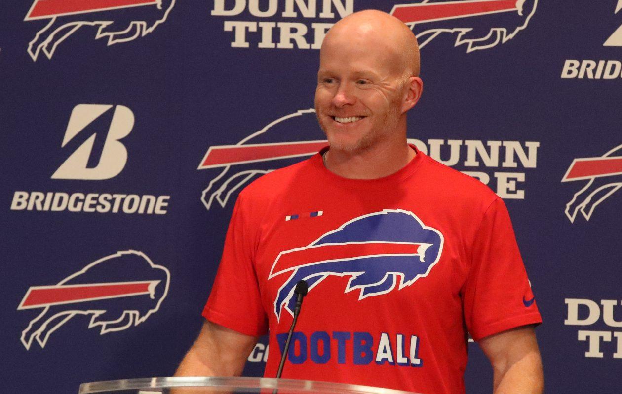 Buffalo Bills head coach Sean McDermott talks to the press at his weekly press conference. (James P. McCoy/Buffalo News)