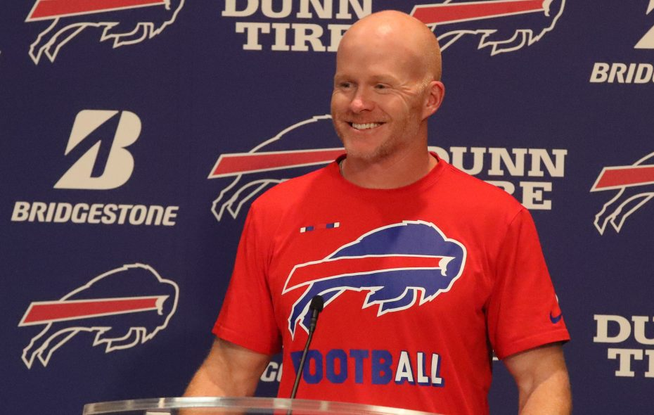 Buffalo Bills head coach Sean McDermott talks to the press at his weekly press conference. (James P. McCoy/Buffalo News)