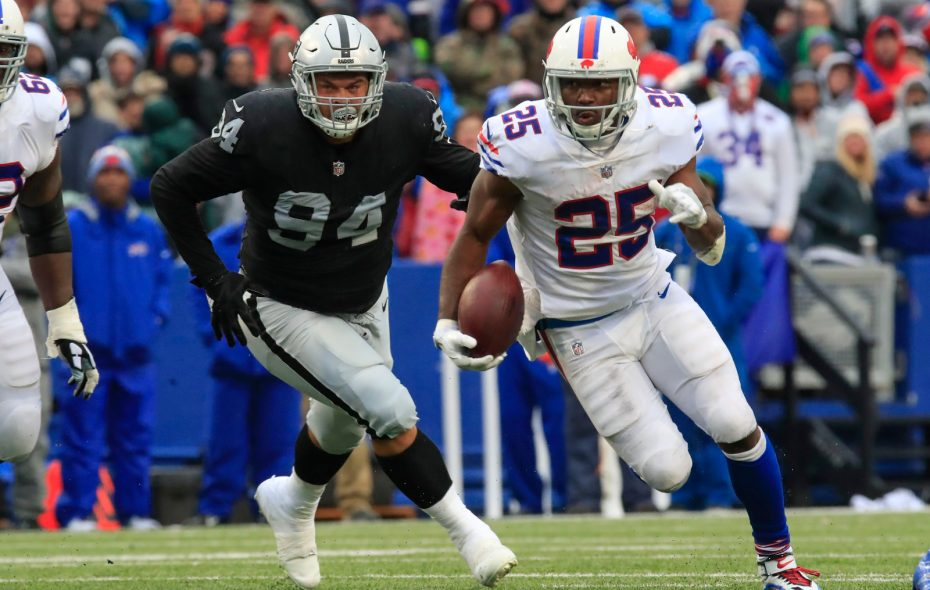 Buffalo Bills running back LeSean McCoy (25) has room to run against the Oakland Raiders. (Harry Scull Jr./ Buffalo News)