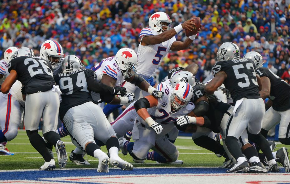 Buffalo Bills quarterback Tyrod Tayor (5) dives over the line for a touchdown against the Oakland Raiders during the fourth quarter at New Era Field in Orchard Park on Sunday, Oct. 29, 2017. (Mark Mulville/Buffalo News)