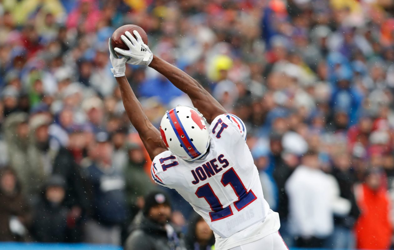 It still wasn't a huge statistical showing for Zay Jones, but Sunday's game was definitely a step forward for the rookie receiver.  (Mark Mulville/Buffalo News)