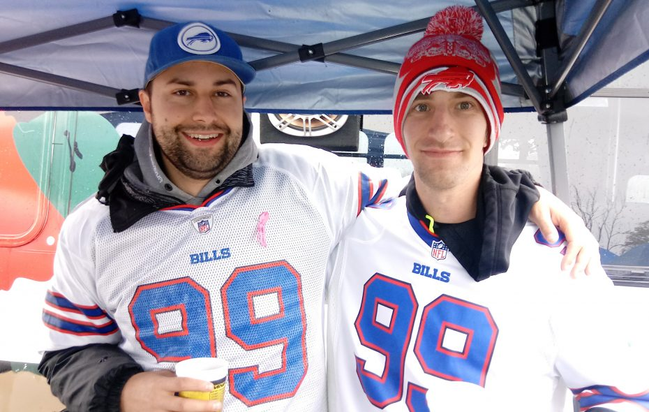 Brian Zilbauer, left, and Matt Malinowski wear Marcell Dareus jerseys Sunday, Oct. 29, the week the Bills traded the defensive tackle to Jacksonville. (Luke Hammill/Special to The News)