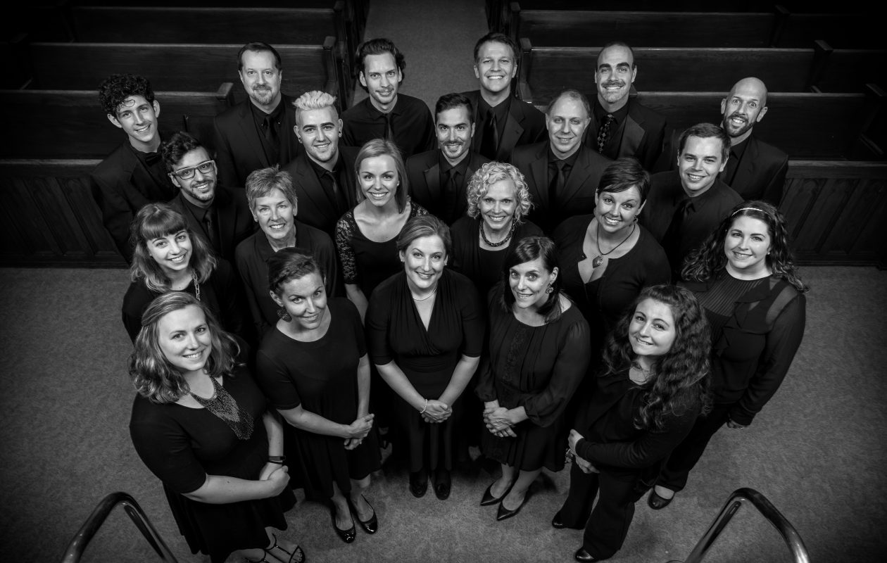 The Harmonia Chamber Singers are singing at a Mass for the dead.