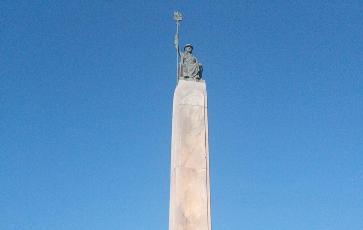 The marble monument in the City of Lockport's Veterans park. (Thomas J. Prohaska/The Buffalo News)