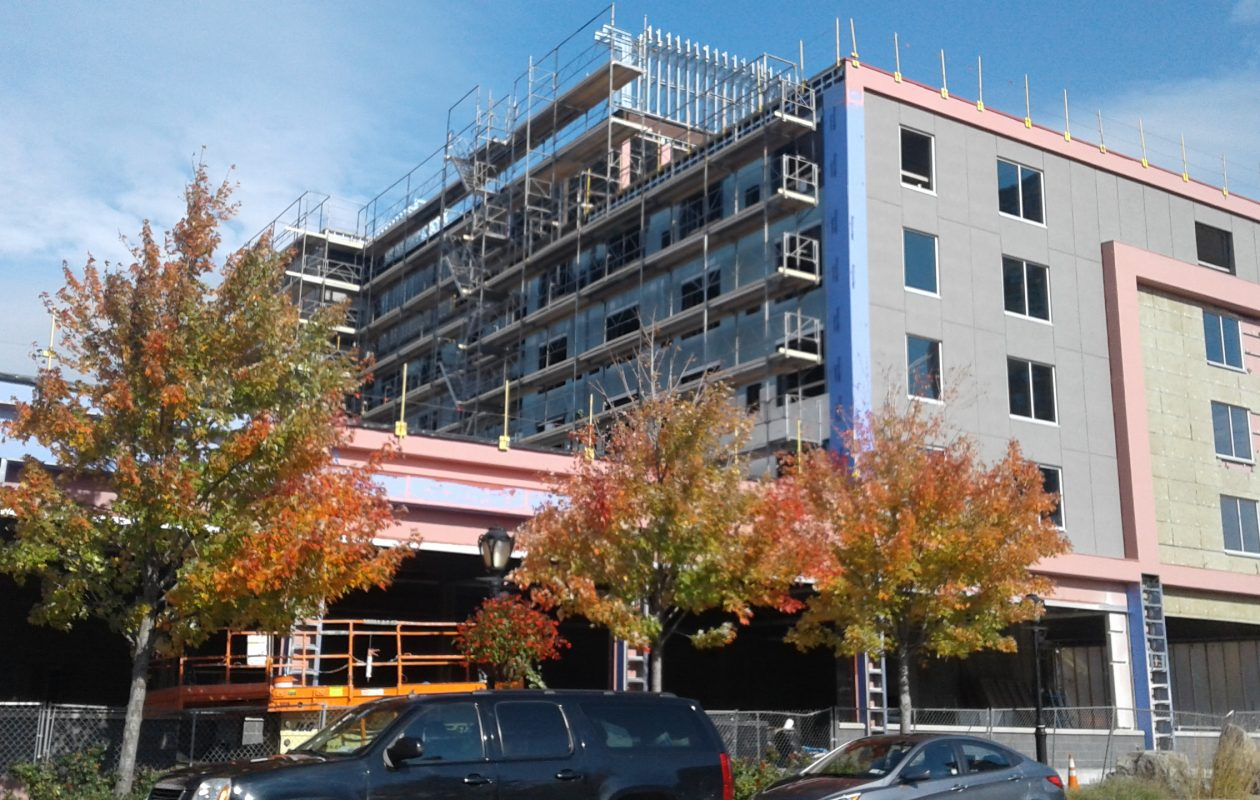 The Hyatt Place Hotel, under construction in Niagara Falls, as it appeared Oct. 30, 2017. (Thomas J. Prohaska/Buffalo News)