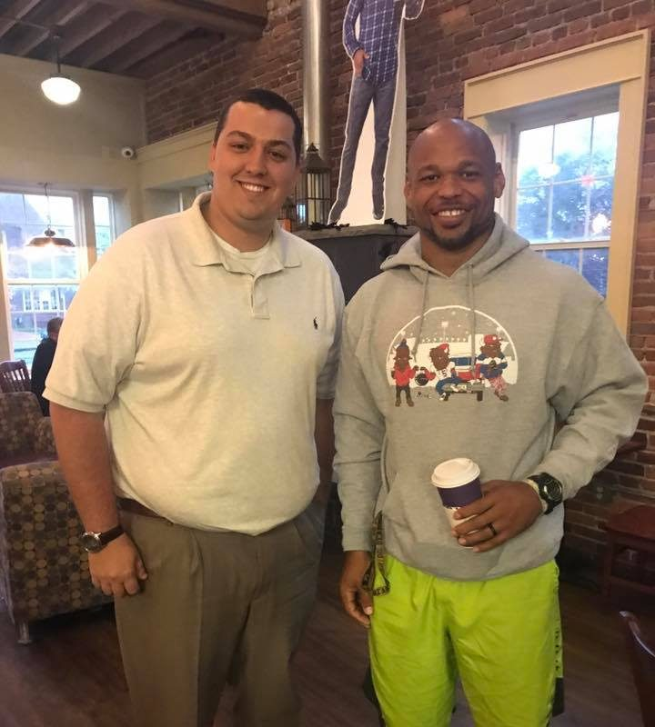 Bills season-ticket holder C.J. Long met linebacker Lorenzo Alexander for breakfast, and conversation on Tuesday morning. (Photo courtesy of C.J. Long)