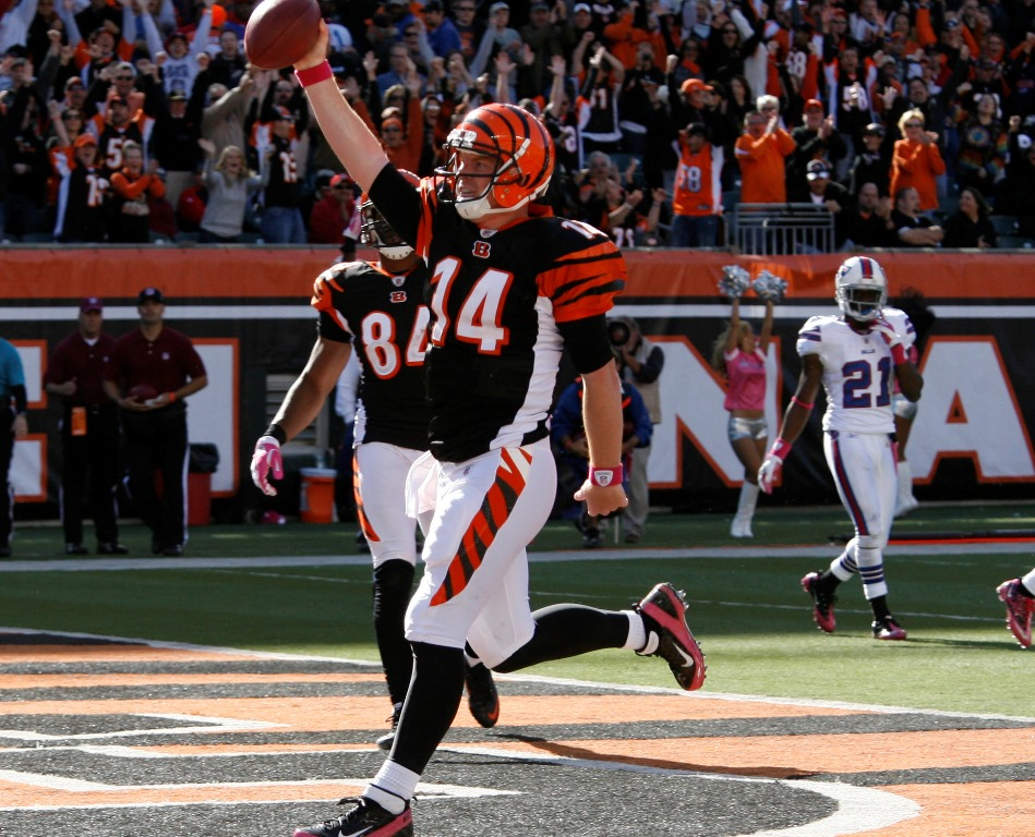 Cincinnati Bengals quarterback Andy Dalton (14) scores a touchdown against  the Bills in the fourth quarter at Paul Brown Stadium on Sunday, Oct. 2, 2011.  (James P. McCoy / Buffalo News)