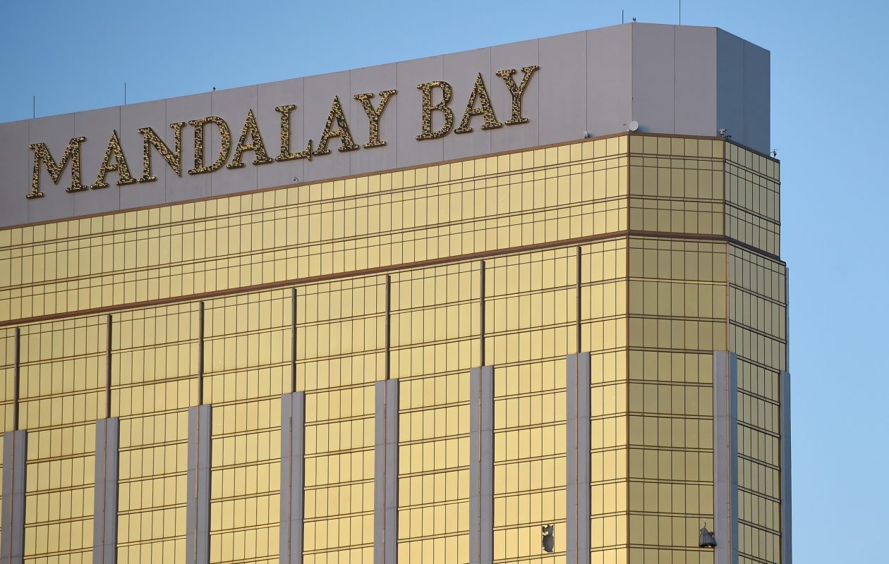Broken windows can be  seen on the 32nd floor of the Mandalay Bay Resort and Casino in Las Vegas where Stephen Paddock, 64, of Mesquite, Nev., opened fire, killing 58 and wounding more than 500. (Photo by David Becker/Getty Images)