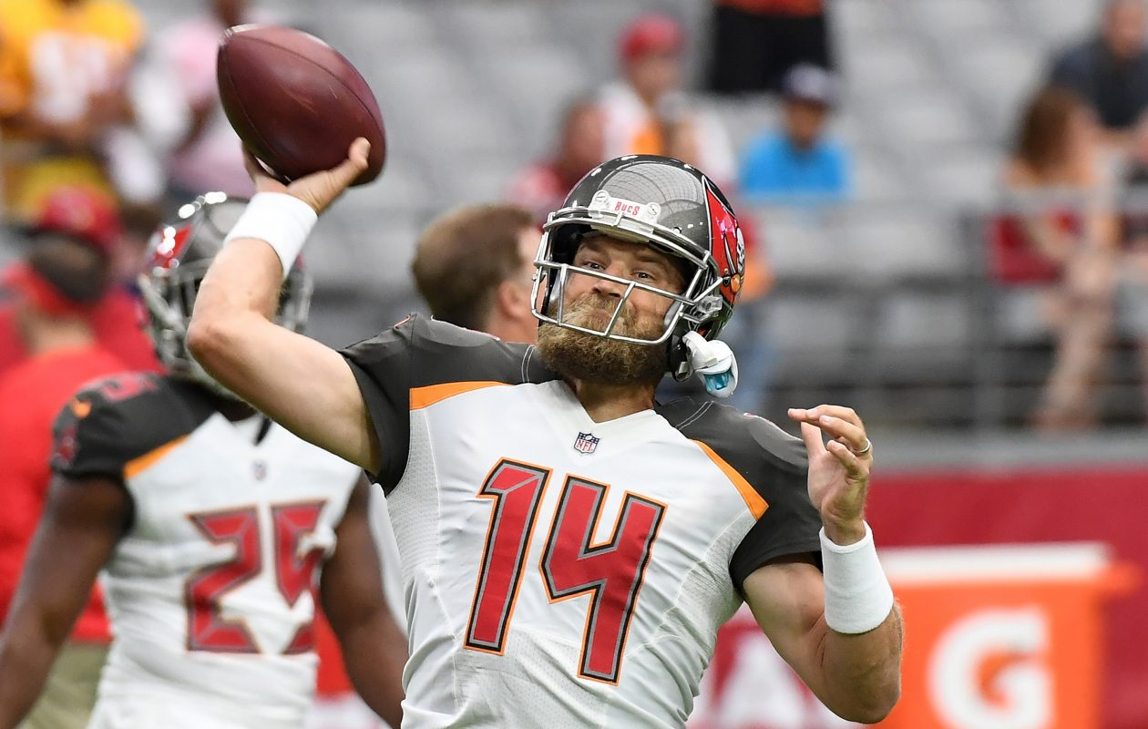 Ryan Fitzpatrick of the Tampa Bay Buccaneers warms up prior to a game against the Arizona Cardinals. (Photo by Norm Hall/Getty Images)