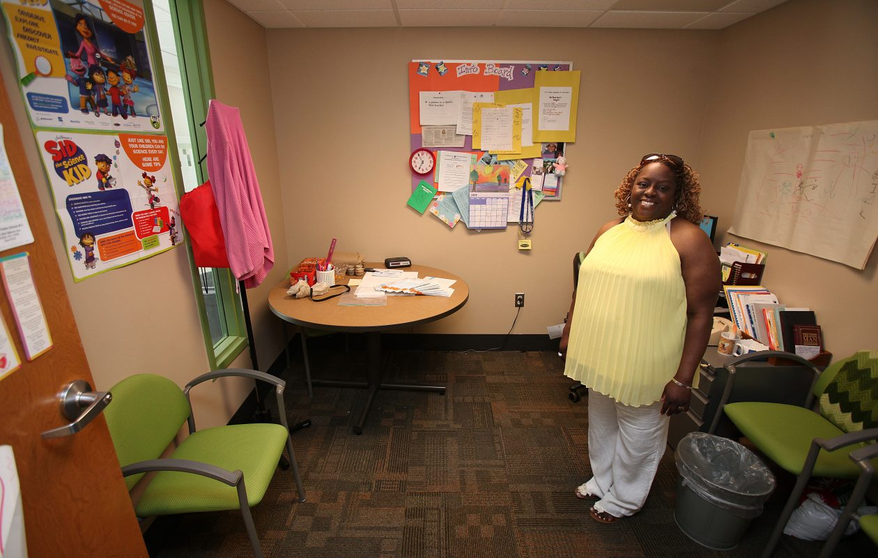 In this 2012 file photo, pParent facilitator Sahara Guido shows off her new facilitation room at Public School 17  on West Delavan Avenue.. (News file photo)