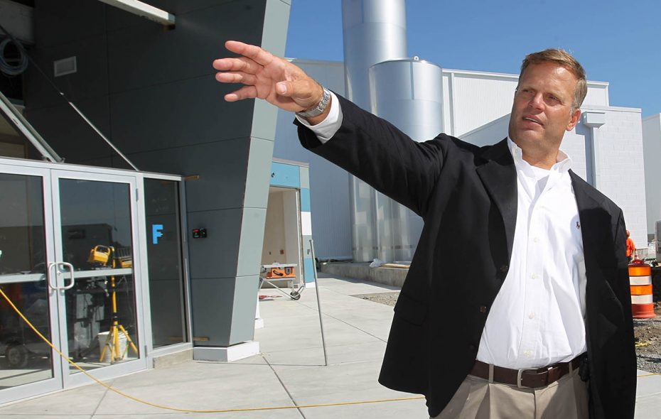Steve Hyde, president of the Genesee County Economic Development Center, seen here in 2002 at the Genesee Valley Agri-Business Park in Batavia, is one of 10 IDA chiefs in New York who earned more than $150,000 in 2016. (Sharon Cantillon/Buffalo News)