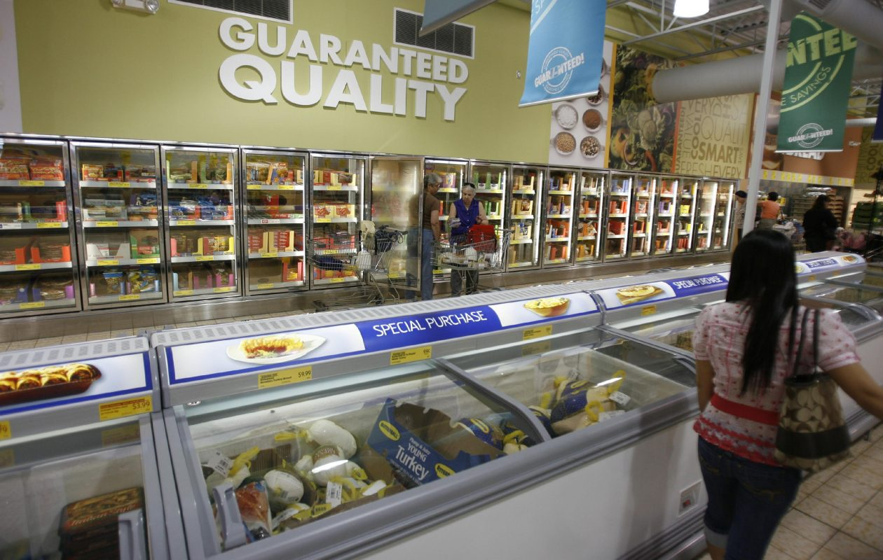 This 2008 photo shows the produce section of the Aldi grocery store on Transit Road in East Amherst. Aldi is seeking permission to expand the store as part of renovations it plans at the site. (News file photo)