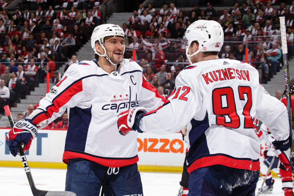 With nine goals in five games, Alex Ovechkin (left) has been celebrating a lot so far with Evgeny Kuznetsov (Getty Images).