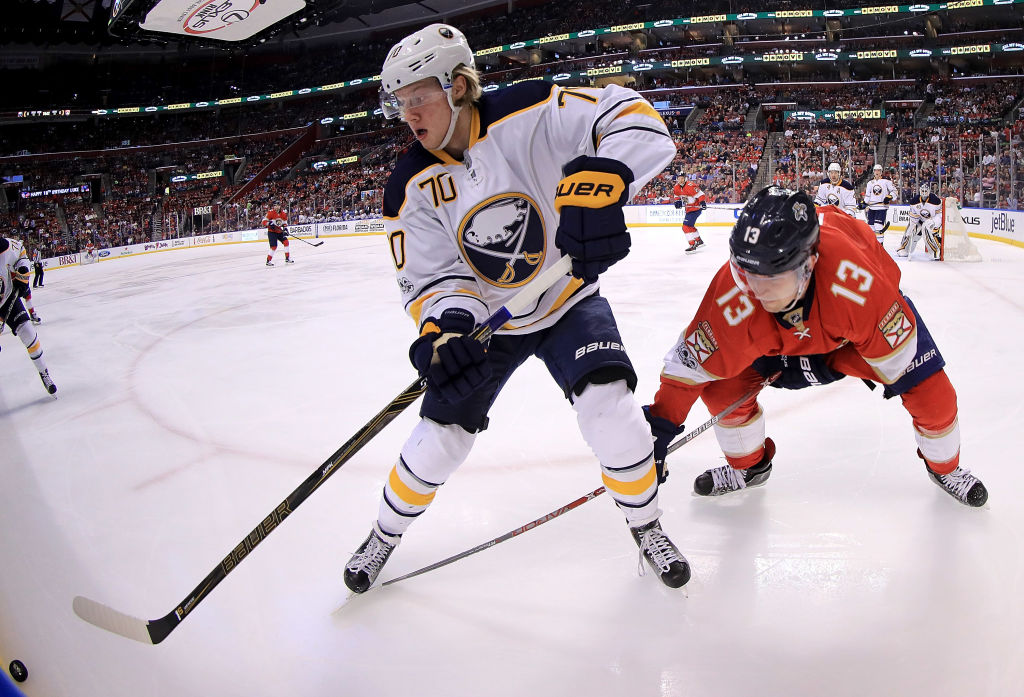 Alex Nylander, shown against former Buffalo defenseman Mark Pysyk during an April game at Florida, has yet to play this season. (Getty Images)