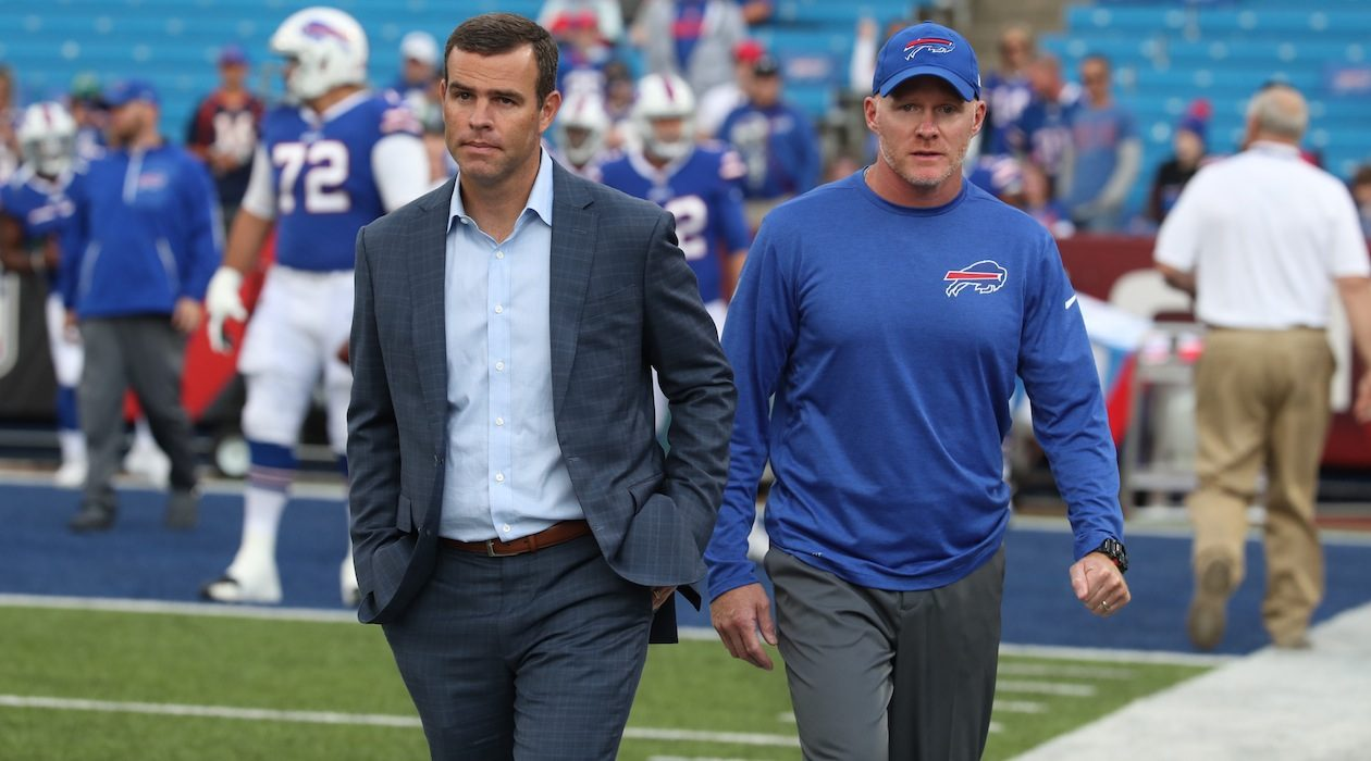 Bills General Manager Brandon Beane, left, and head coach Sean McDermott led the franchise to the playoffs last year, ending a 17-year drought. (James P. McCoy/Buffalo News)