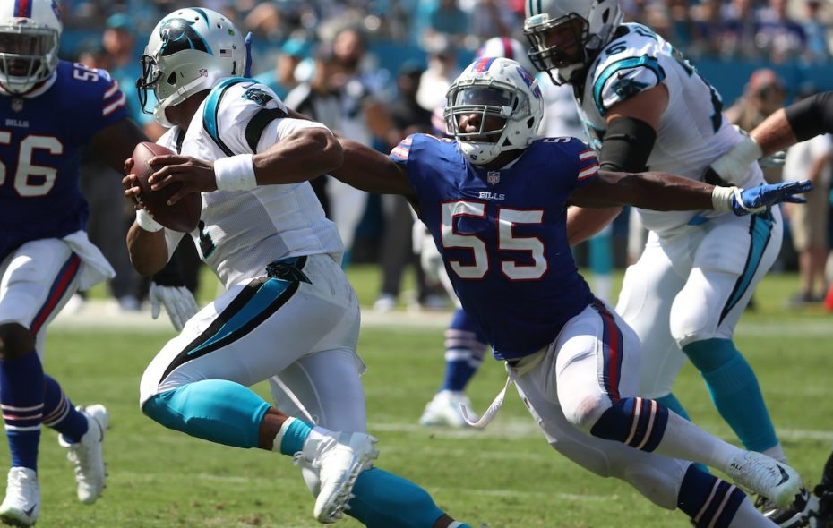 Jerry Hughes is entering the last year of his contract. (James P. McCoy/Buffalo News)