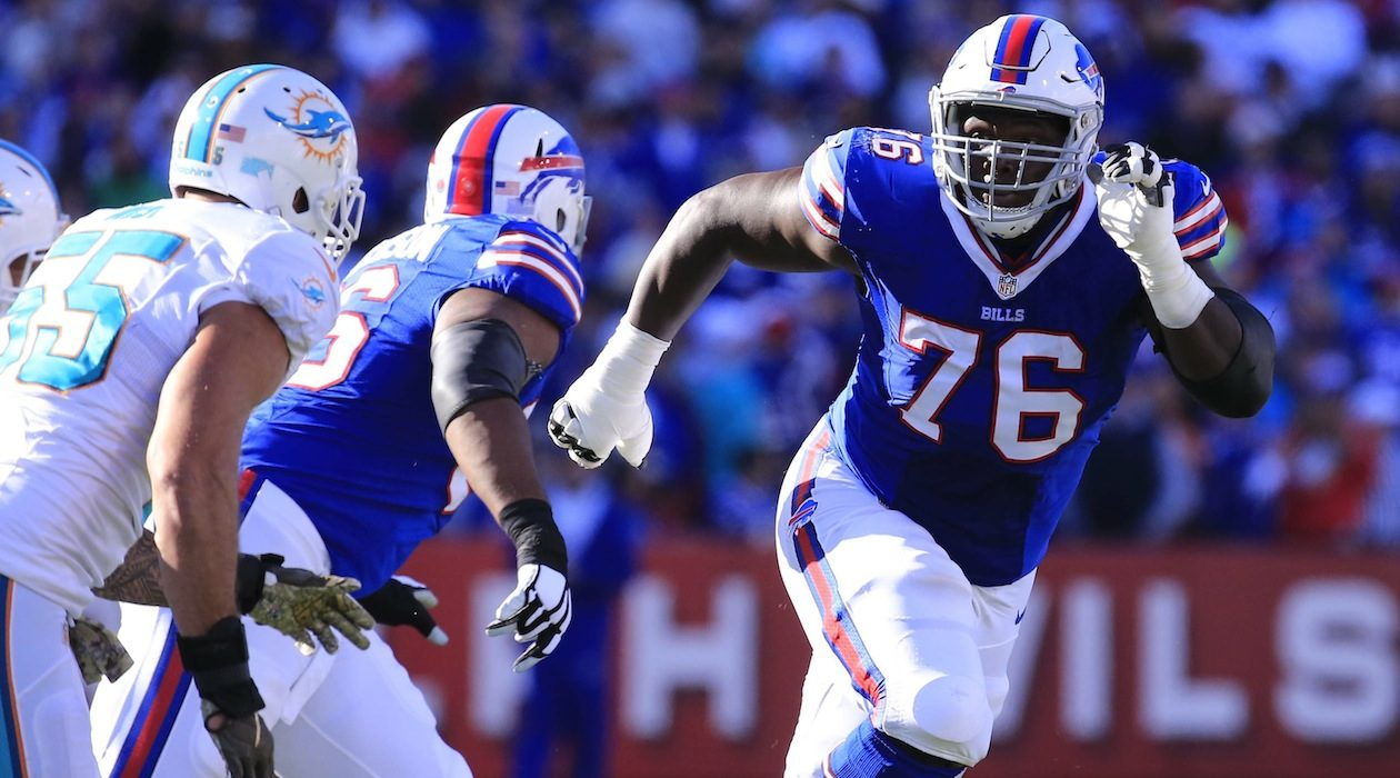 Bills guard John Miller allowed four pressures against the Ravens. (Harry Scull Jr./Buffalo News)